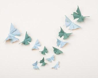 3D Butterfly Wall Decor: Cute Nursery Decor, Baby Shower, Home Decor, Wedding   Spruce Green & Aqua Damask