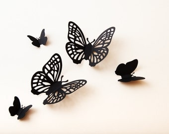 3D Butterfly Wall Art: wall butterflies, paper butterflies, whimsical decor, black morpho filigree