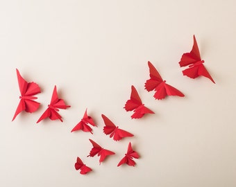 3D Wall Butterflies: Poppy Red Butterfly Silhouettes for Home Art Decor, Nursery, Children's Room
