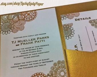 Mandala and Faux Bois (Woodgrain pattern) Rustic Chic Wedding Invitation Set by Luckyladypaper - CUSTOM CARD ORDER