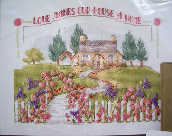 "SALE - Country House Ribbon Embroidery Kit by Bucilla  ""Love makes our house a home"" - Cross Stitch Kit, X Stitch Kit"