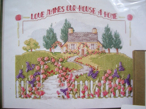 Sale country house ribbon embroidery kit by bucilla