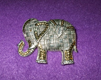 Large Elephant Brooch Pin Two Tone Silver Gold Metal White Yellow Ornate Vintage