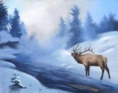 Elk winter snow landscape 24x30 oils on canvas painting by RUSTY RUST / E-150