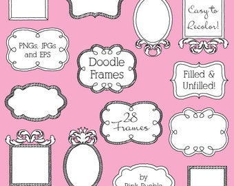Doodle Frames Clipart Clip Art 2, Doodle Borders Clip Art Clipart - Commercial and Personal Use