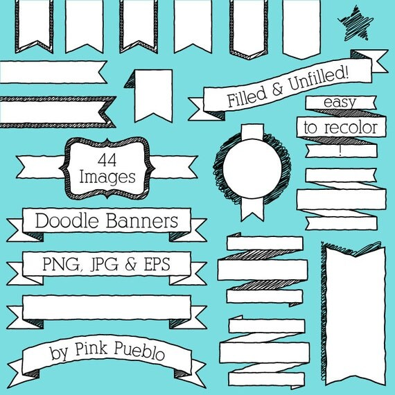 Doodle Banners Clipart Clip Art, Doodle Badges Labels Tags Ribbons Clip Art Clipart - Commercial and Personal Use