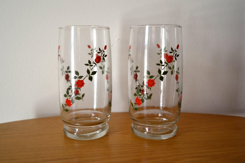 Vintage Set Of Red Rose Drinking Glasses