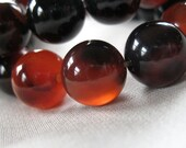 11m/12mm Gorgeous Carnelian Black and Red Agate Round Beads, full strand, 15.5""