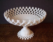 Vintage Milk Glass Westmoreland Lattice Bowl or Compote