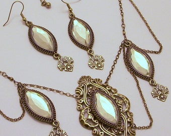 Antique Silver Marquise Necklace & Earring Set Free Shipping