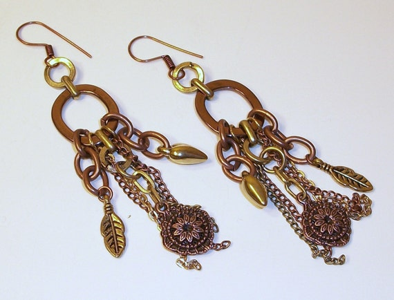 Copper and Bronze Chandelier Chain Earrings FREE SHIPPING