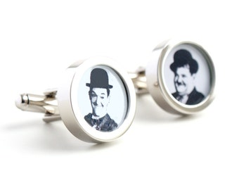 Laurel and Hardy Cufflinks Comedy Movie Legends PC357