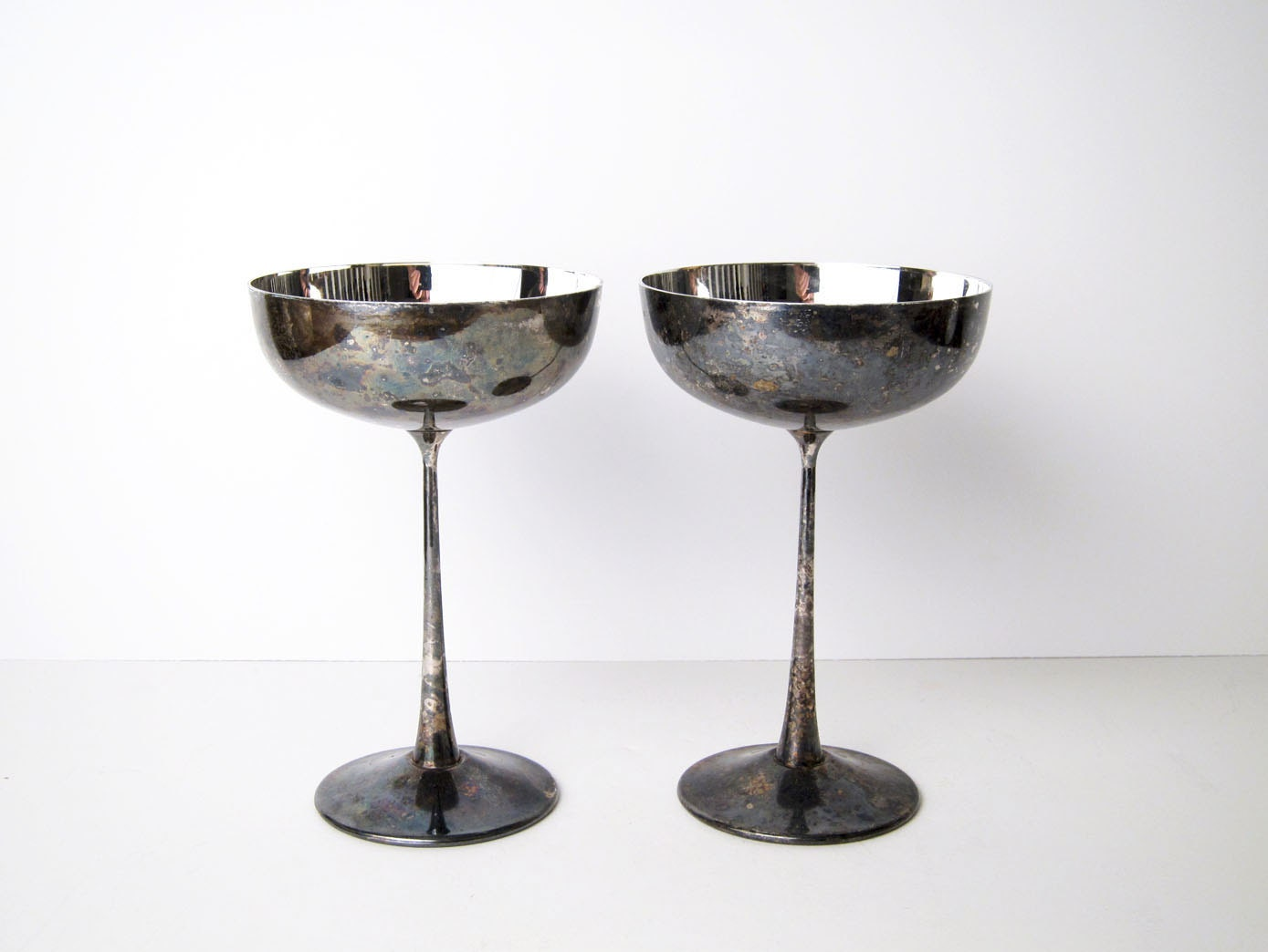Delberti Italy Silver Plated Modernist Goblets Midcentury