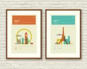 London and Paris Posters, City Art Prints - 12 x 18 Minimalist, Nursery, Love, Graphic, Mid Century Modern, Vintage Style, Retro Home