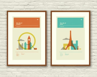 London and Paris Posters, City Art Prints - 12 x 18 Minimalist, Nursery, Love, Graphic, Mid Century Modern, Vintage Style, Retro Home