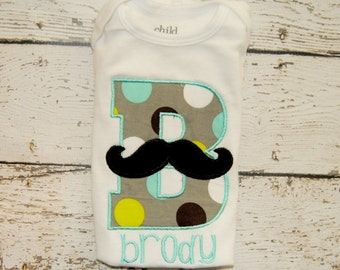 Moustache Initial with Personalization Embroidered Shirt or body suit