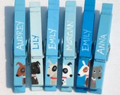 DOG PARTY FAVOR (6) hand painted clothespin magnets