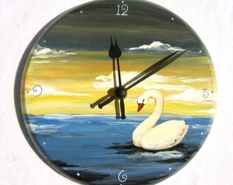 SWAN CLOCK hand painted wooden