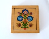 vintage square box with hand painted floral folk art design