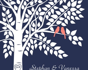 Guestbook Tree Poster Navy and Coral Wedding Guest Book Tree Personalized Wedding Tree - 16x20 Signature Keepsake Guestbook Poster