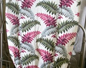 1950s Cream Magenta Green Fern Foliage Bark Cloth Fabric Leaf Pattern Print Vintage Material for Upholstery, Curtains or Drapery