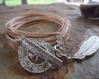 MIX in SAND & FEATHER leather wrap bracelet (407)