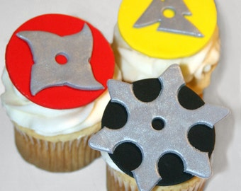 Fondant cupcake toppers Ninja Star, Karate, Martial Arts