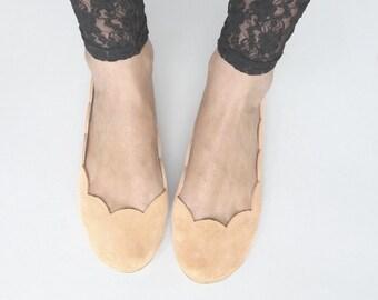 Peach Soft Suede Scalloped Handmade Ballet Flats