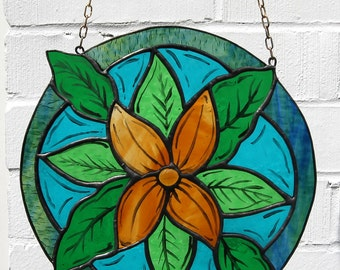 Orange Flower Botanical Painted Stained Glass Panel