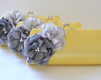 Set of 3  Bridesmaid clutches / Wedding clutches - Custom Color