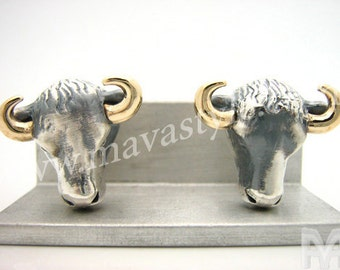 Sterling Silver & Gold Cow Cufflinks