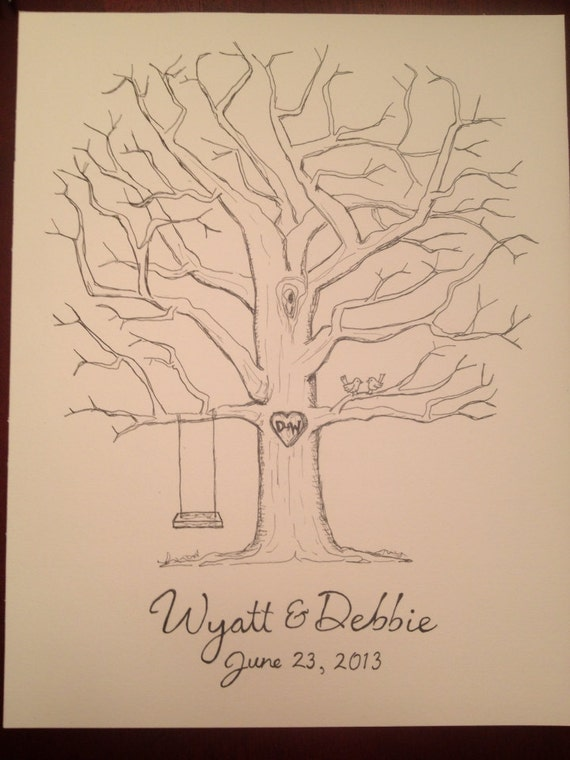 items similar to wedding guestbook fingerprint tree