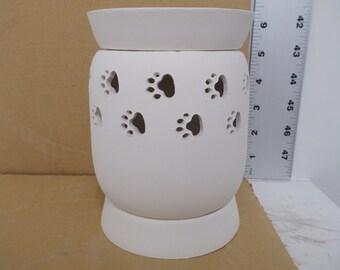 Ceramic  Paw Prints Tart Warmer Bisque (Electric)