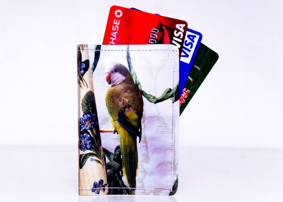 Green Bird Wallet Recycled Paper with Green Parakeet
