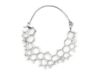 Hoop Earrings - Geometric Hoops - Hexagonal Earrings - Silver Hoops - Boho Jewelry