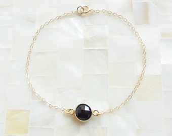 Step-Cut Faceted Black Onyx Vermeil Bezel Round Connector on Gold Chain Bracelet (B1165)