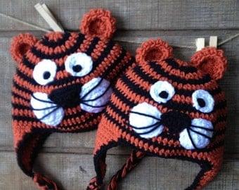 Tiger Crochet Hat Tony the Tiger Roarr Earflaps Baby, Toddler, Child, Teen Crochet Hat