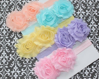 Discount Combo Set of Pastel Double  Shabby Chic Headbands (Newborn, Toddler, Child)