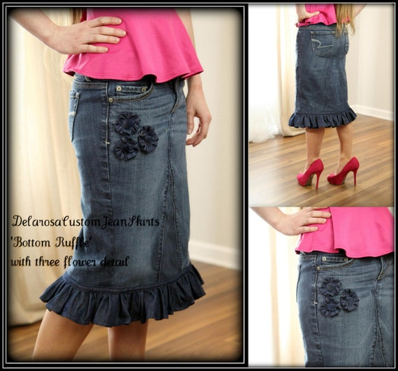 Bottom Ruffle Jean Skirt modest with three flower detail size 0 2 4 6 8 10 12 14