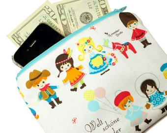 Pencil Pouch Cosmetic Bag - Zippered clutch made from Japanese Fabric - Kawaii cute children of the world print