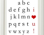 Alphabet I Love You DIY printable Art Print - choose your colors by anna and blue paperie