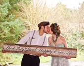 Wooden wedding sign Big REALLY Big  five foot long rustic Hand Painted Barn Board Sign -And They Lived Happily Ever After -