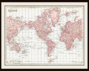 1911 WORLD Map - DIGITAL DOWNLOAD - for Papercrafts, Transfers, Pillows, Scrapbooks, and more.
