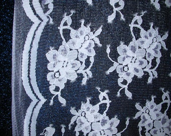 White Floral Bridal Lace with Double Border   1 Yard   (SM324)