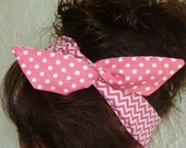 Dolly Bow, Reversible Deep Pink Chevron and Polka Dot Rockabilly Wire Headband Teen