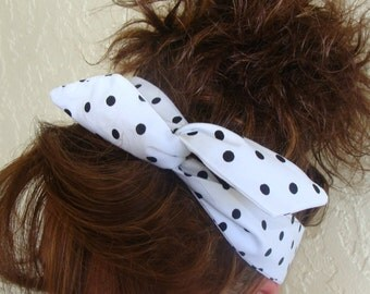 Dolly Bow Wire Headband White with Black Polka Dots Wire Headband Rockabilly Pin Up 40's Hair Accesssory Teen Girl Woman