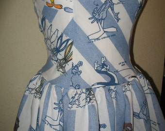 Custom Made to Order Upcycled Looney Tunes Daffy Bugs Bunny Character Pin Up SweetHeart Ruffled Halter Mini Dress