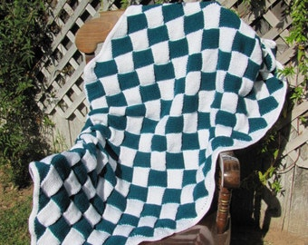 Hand Knitted Blanket OOAK Teal and White