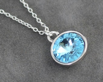 Aquamarine Birthstone Necklace, March Birthday Jewelry, Silver, Crystal Aquamarine Necklace