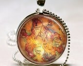 Peter Pan Necklace,  Neverland Map, Never Land, Once Upon A Time, Fairy Tale Art Pendant with Ball Chain Included (ITEM B075) - MissingPiecesStudio